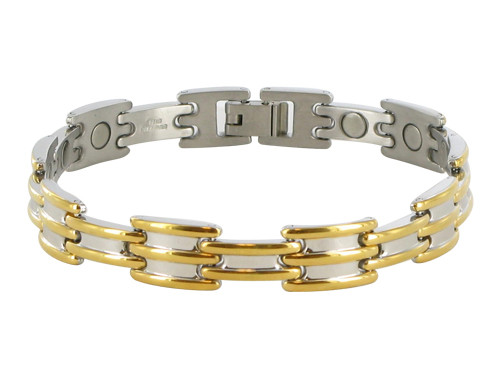 10mm Stainless Steel Two Tone Magnetic Bracelet 8.75 inch