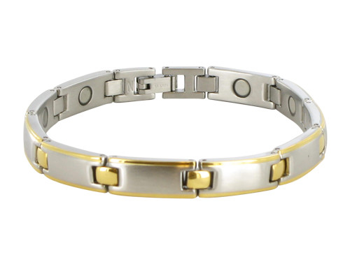 7mm Stainless Steel Two Tone Magnetic Bracelet 8.5 inch