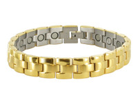 11mm Stainless Steel Gold Tone Magnetic Bracelet 8.5 inch