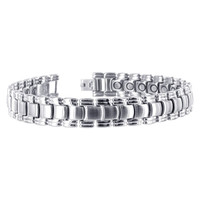 Mens Stainless Steel 12mm Magnetic Link Bracelet 8.5""