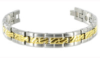 Titanium 12mm Wide Mens Two Tone Magnetic Link Bracelet 8 inch Long with Fold over Clasp #JBMT011