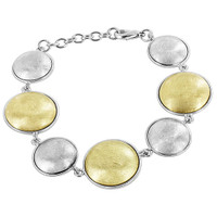Gold and Silver Plated 20mm and 15mm Round Scratched Design 6.5 inch to 7.5 inch link Bracelet
