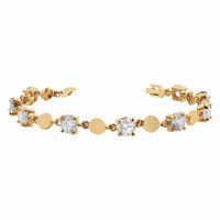 Gold Layered Round Clear Glass Stones 7 Inch Long Bracelet #MIBR003