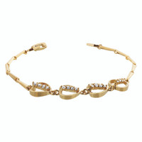 Gold Layered Clear Simulated Stones with Hearts 8 Inch Long Bracelet #MIBR005