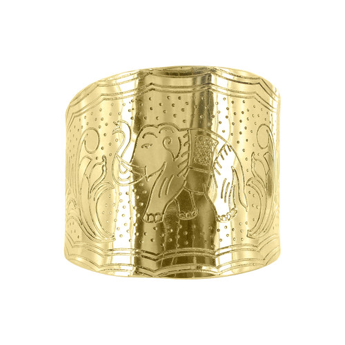 Engraved 2.6 wide Elephant and Leaves Story telling Fashion Cuff Bracelets