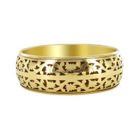 Gold Tone 1 inch Floral Carved Bangle Bracelets Size 2.8