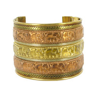 Elephant Parade Engraved Two Tone Finish Fashion Cuff Bracelet #SBBF022