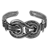 Double Knots Silver Tone 1.1 inch Front Fashion Cuff Bracelet