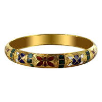 9mm wide Gold Tone Fashion Bangle Bracelet Size 2.6 #SBBF031