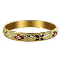 9mm Gold Tone Enamel Design Fashion Bracelet Size 2.6