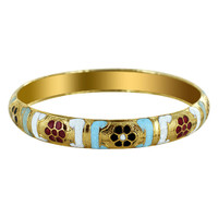10mm wide Gold Tone Fashion Bangle Bracelet Size 2.10
