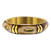 Gold Tone Wooden Vintage Style Bangle Bracelet