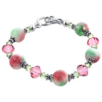 Sterling Silver Pink & Green Gemstone with Swarovski Elements Crystal Handmade Bracelet 7.5 inch #SCBR020