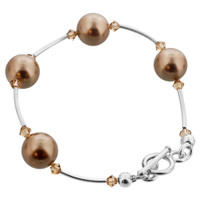925 Sterling Silver Swarovski Elements Bronze Faux Pearl with Light Topaz Color Crystal Handmade Bracelet 7.5 inch