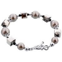 Sterling Silver Crystal and Pearl SWAROVSKI ELEMENTS Bracelet