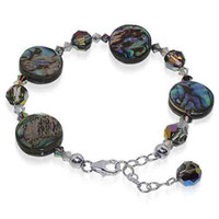 Sterling Silver Swarovski Elements Crystal adjustable Bracelet 7 to 8""