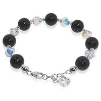 925 Sterling Silver Swarovski Elements Round Black Onyx & Clear Crystal Handmade Bracelet 6 to 8 inch Adjustable