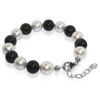 925 Sterling Silver Made with Swarovski Elements Round Black and Clear Pearl 8 inch Handmade Bracelet
