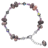 Sterling Silver Swarovski Elements Crystal with Pink Purple and Bead Handmade Bracelet 7 to 9 inch Adjustable #SCBR097