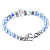 925 Sterling Silver Swarovski Elements Blue Faux Pearl with Crystal Handmade Bracelet 7.5 inch