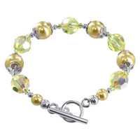 Sterling Silver Swarovski Elements 10mm Faux Yellow Pearl with Crystal Handmade Bracelet 7.5 inch #SCBR136