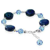 Sterling Silver Blue Dyed Abalone and Clear Crystal Bracelet 7 inch Made with Swarovski Elements