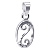 925 Plain Sterling Silver 14mm x 10mm Oval Shape with Swirl Pendant #LWPS140