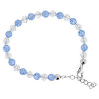 925 Sterling Silver Swarovski Elements Clear & Blue Crystal Handmade Bracelet 7 to 8.5 inch Adjustable