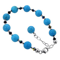Sterling Silver Turquoise Beads with Swarovski Elements Crystal Handmade Bracelet 7 to 9 inch Adjustable #SCBR265