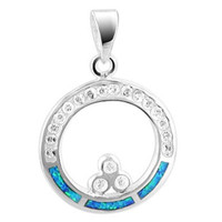 925 Sterling Silver Round Created Blue Opal Inlay with CZ accents Pendant #SLPS008
