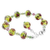 925 Sterling Silver 11mm Millefiori Glass with Swarovski Elements Crystal Handmade Bracelet 7 to 8.5 inch Adjustable