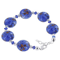 Sterling Silver 16mm Lampwork Glass with Swarovski Elements Crystal Handmade Bracelet 7 to 8 inch Adjustable #SCBR325