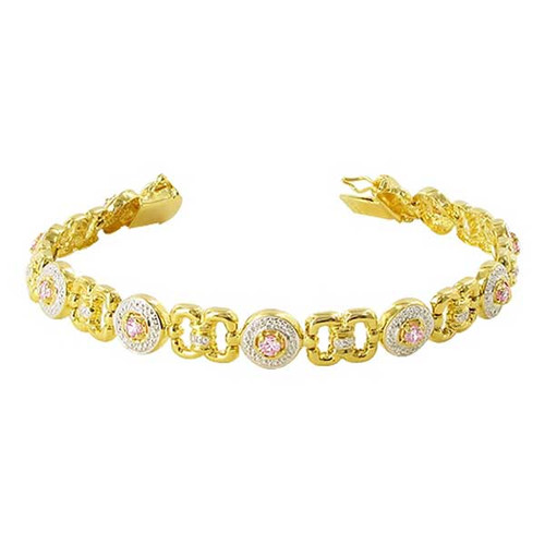 Gold over 925 Sterling Silver Pink Topaz Vermeil Link Two Tone Bracelet 7.25 inch