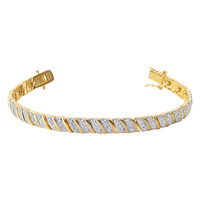 Gold over 925 Silver Pave set Clear Topaz Gemstone 6mm Vermeil Two Toned Link Bracelet 7 to 8 inch #VMBR070