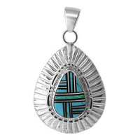 925 Sterling Silver Oval Turquoise and Created Opal Inlay Pendant #OSPS007