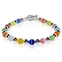 Sterling Silver Round Multicolor 6mm Cats Eye Beads 6.5 to 8 inch Bracelet With Toggle Clasp #bdb002