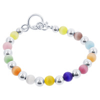 925 Silver Round Multicolor 6mm Cats Eye Beads 6.5, 7, 7.5, 8 Inch Bracelet With Toggle Clasp #bdb002