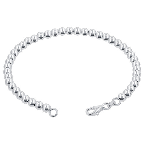 925 Sterling Silver 4mm Beads 7, 8 Inch Bracelet With Lobster Clasp