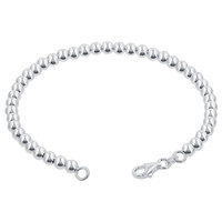 925 Sterling Silver 4mm Beads 7, 8 Inch Bracelet With Lobster Clasp #bdb008
