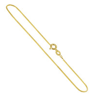 14K Gold over 925 Sterling Silver Vermeil Box 1mm Chain 7, 8 inch Bracelet with Spring Ring Clasp