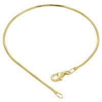 14k Yellow Gold over 925 Sterling Silver Vermeil Diamond-Cut Snake Chain 7, 8 Inch Bracelet