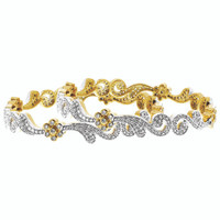 22k Gold Plated Cubic Zirconia Swirl Design Bangle Bracelet set of 2 #JB063