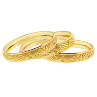 Gold Plated Carved Design Bangle 11mm Bracelets Set of 3  #JB099