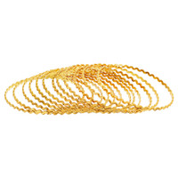 Gold Plated Zig Zag Design Thin Bollywood Indian Bangle Bracelets Set of 12 #JB117