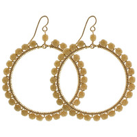 Circle Czech Seed Beads French Hook Handmade Dangle Earrings