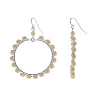Silver Plated Champagne Color Glass Beads Handmade Drop Earrings