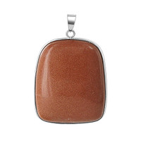Stainless Steel 1.2 x 1.5 inch Cabochon Asymmetric Pillow Shape Gold Stone Pendant