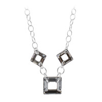 "Sterling Silver Vitrail Silver Color Square Crystal Necklace 16"" Made with Swarovski Elements #SCNK333-16"
