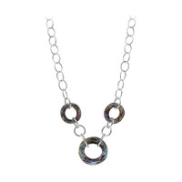 "Sterling Silver Light Vitrail Faceted Round Crystal Necklace 16"" Made with Swarovski Elements #SCNK334-16"