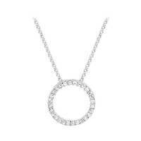 925 Sterling Silver 2mm Round Clear CZ 22mm Eternity Pendant with 1mm Rolo Chain Necklace #bn34